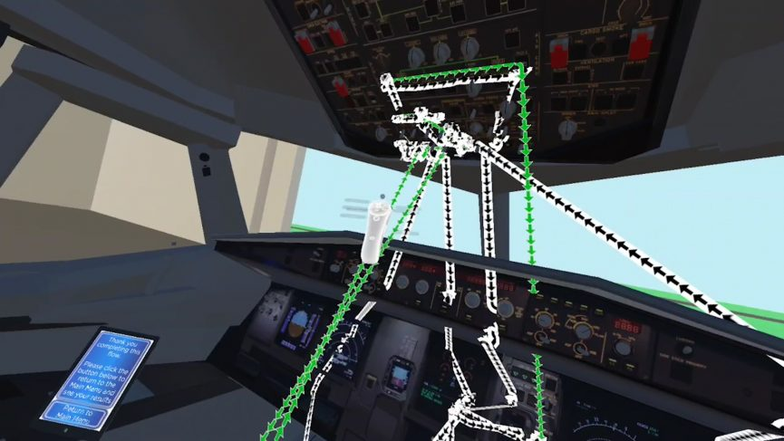 Gaze and fixation points of virtual reality flight deck simualtion